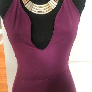 Boohoo deep purple vneck dress